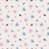 Wild flower with dragonfly seamless pattern on blue and pink mood royalty free stock photo