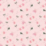 Wild flower with dragonfly seamless pattern on pastel mood royalty free stock photos