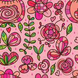 Wild flower isolated pink rain seamless pattern stock illustration