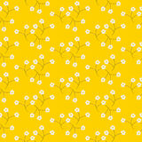 Wild flower light tender white spring field seamless pattern. Floral tender fine summer vector pattern on bright yellow background. For fabric textile prints Stock Image