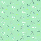 Wild flower pastel mint spring field seamless pattern. Floral tender fine summer vector pattern background. For fabric textile prints and apparel Royalty Free Stock Photo