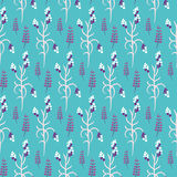 Wild flower purple plant spring field seamless pattern. Wild flower purple and white plant spring field seamless pattern. Floral tender fine summer vector Royalty Free Stock Photo