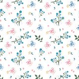 Wild flower seamless pattern on blue and pink mood royalty free stock images