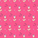 Wild flower spring field seamless pattern. Floral tender fine summer vector pattern on pink background. For fabric textile prints and apparel Stock Photography