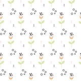 Wild flower spring field seamless pattern. Floral tender fine summer vector pattern on white background. For fabric textile prints and apparel Stock Images