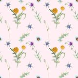 Wild flowers background vector illustration
