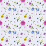 Wild flowers background. Seamless pattern. Wild flowers background Watercolor. stock images