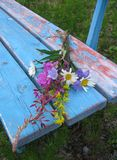 Wild flowers on bench. Bunch of wild flowers abandoned on a bench Stock Photo