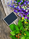 Wild flowers and a black board for the text Stock Photos