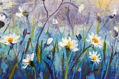 Oil painting of flowers,beautiful field flowers on canvas. Modern Impressionism.Impasto artwork. Wild flowers in blue field background - original modern Royalty Free Stock Photos