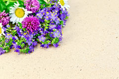 Wild flowers on brown paper Royalty Free Stock Photography