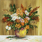 Wild flowers in a clay pot Stock Images