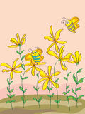 Wild Flowers Cute Bee_eps. Illustration of wild flowers with 2 cute bees on warm backgrounds Stock Photography