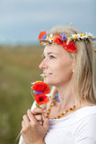 Wild flowers and girl Royalty Free Stock Image