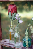 Wild flowers in glass bottles wedding. Flowers and herbs in glass bottles standing on an old wooden bench in the garden Stock Photo
