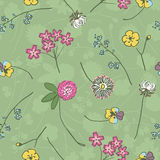 Wild flowers on green hand drawing Stock Images