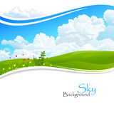 Wild flowers , Green hills and Blue Sky Stock Image