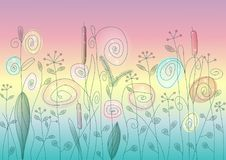 Wild flowers and herbs abstract. Colorful vector illustration