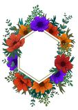 Wild flowers hexagon frame. Color pencil digital illustration. Vertical Design with beautiful anemones and copy space. For text on white background. invitation stock images