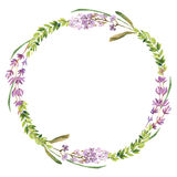 Wild flowers and lavender watercolor wreath. Wild flowers and lavender watercolor decoration wreath Stock Images