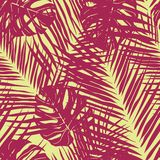 Cute green tropical leaves seamless pattern design stock illustration