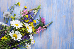 Wild flowers on old grunge wooden background chamomile lupine d Stock Photo
