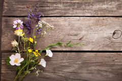Wild flowers on old grunge wooden background chamomile lupine d Royalty Free Stock Photos