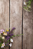 Wild flowers on old grunge wooden background chamomile lupine d Royalty Free Stock Photography