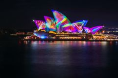 Wild Flowers Patterns in a Techno World. Sydney, Australia -May 25, 2018: Vivid Sydney Festival in Sydney Harbour, Australia. Spectacular and popular outdoor Stock Image