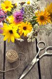 Wild flowers and scissors on old grunge wooden background chamo. Wild flowers tangle of rope and scissors on old grunge wooden background chamomile lupine Royalty Free Stock Photo
