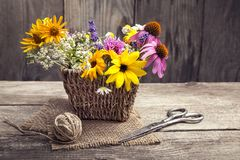 Wild flowers and scissors on old grunge wooden background chamo. Wild flowers tangle of rope and scissors on old grunge wooden background chamomile lupine Stock Images