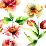 Wild flowers. Seamless wallpaper with wild flowers, watercolor illustration Stock Photo