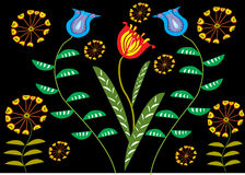 Wild flowers. A stylized vector illustration of wild flowers with a black background Royalty Free Stock Image