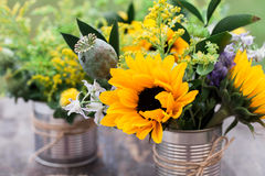 Wild flowers table setting Stock Photography