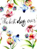 Wild flowers with title the best day ever Stock Photography