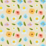 Wild flowers watercolor pattern set illustration seamless stock illustration
