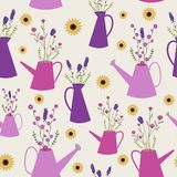 Wild flowers in watering cans seamless pattern. vector illustration