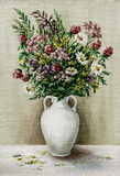 Wild flowers in a white amphora. Picture oil paints on a canvas: a bouquet of wildflowers in a white amphora Royalty Free Stock Image