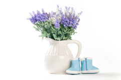Wild flowers in a white vase on a white background. Royalty Free Stock Photo