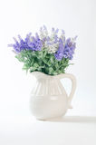 Wild flowers in a white vase on a white background. Stock Photos