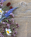 Wild flowers on wooden background Royalty Free Stock Image