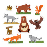 Wild Forest Animals Flat Style Set Royalty Free Stock Image