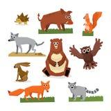 Wild Forest Animals Flat Style Set Royalty Free Stock Image