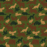 Wild forest animals. Seamless camouflage background with wild forest animals  on white Royalty Free Stock Image