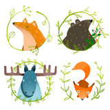 Wild Forest Animals Set. Forest animals portraits set with laurels on white background. Vector EPS10 Royalty Free Stock Photography
