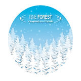 Wild forest background. Origami pine tree. Applique landscape nature. Paper cut style -  wood panorama circle template. Outdoor camping design. Vector Stock Photography
