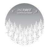 Wild forest background. Origami pine tree. Applique landscape nature. Paper cut style -  wood panorama circle template. Outdoor camping design. Vector Royalty Free Stock Images