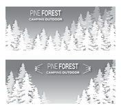 Wild forest background. Origami pine tree. Applique landscape nature. Paper cut style -  wood panorama circle template. Outdoor camping design. Vector Royalty Free Stock Photos