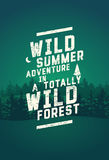 Wild Forest and Ecotourism phrase typographical vintage grunge style poster with fir trees landscape. Retro vector illustration. Stock Image
