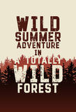 Wild Forest and Ecotourism phrase typographical vintage grunge style poster with fir trees landscape. Retro vector illustration. Royalty Free Stock Photos